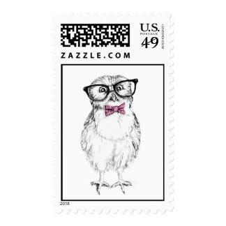 Nerdy owlet postcrossing stamp