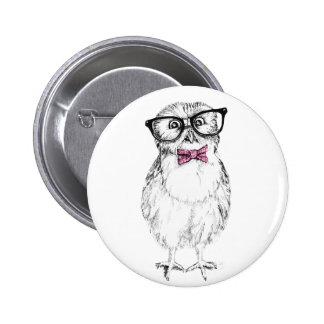 Nerdy Owlet small and smart   ink drawing Button