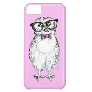 Nerdy owlet small but smart - pink background iPhone 5C case