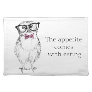 Nerdy owlet small but smart placemat