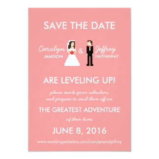 Nerdy Pink 8-Bit Bride & Groom Save the Dates Card