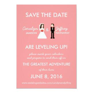 Nerdy Pink 8-Bit Bride & Groom Save the Dates Card
