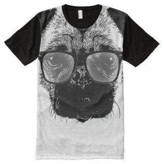 Nerdy Pug Hipster Dog All-Over Print Shirt