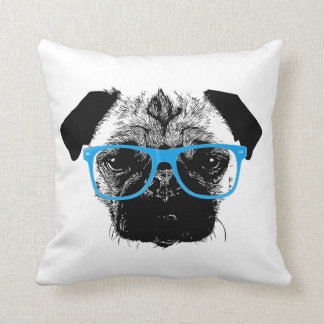 Nerdy Pug in Blue Glasses Hipster Pillow
