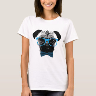 Nerdy Pug in Blue Glasses Hipster T-Shirt