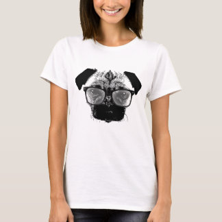 Nerdy Pug in Glasses Hipster T-Shirt