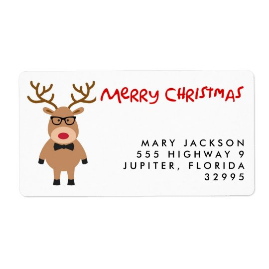 nerdy reindeer christmas holiday address labels zazzle com