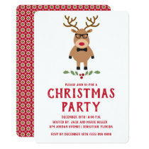 Nerdy Reindeer Christmas Party Invitation