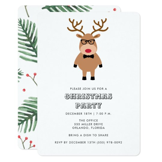Office Christmas Party Invitation.Nerdy Reindeer Office Christmas Party Invitation