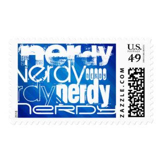 Nerdy; Royal Blue Stripes Postage Stamp