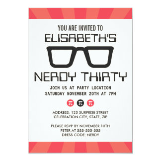 Nerdy thirty birthday party with geeky glasses 5x7 paper invitation card