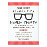 """Nerdy thirty birthday party with geeky glasses 5"""" x 7"""" invitation card"""