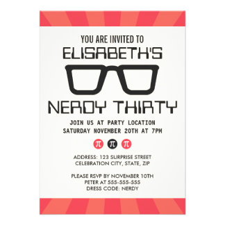 Nerdy thirty birthday party with geeky glasses announcements