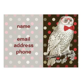 Nerdy Vintage Snowy Owl Business Cards