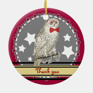 Nerdy Vintage Snowy Owl Double-Sided Ceramic Round Christmas Ornament
