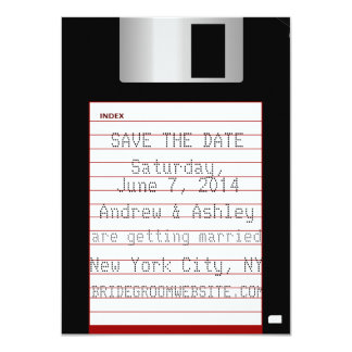 Nerdy Wedding Save The Date Floppy Disk 4.5x6.25 Paper Invitation Card