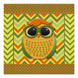 Nerdy Yellow and Green Owl Chevron Poster Print