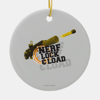 Nerf Lock & Load Double-Sided Ceramic Round Christmas Ornament