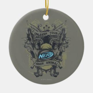 Nerf - provoque su animal interno adorno navideño redondo de cerámica