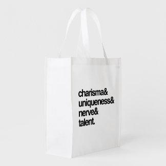 Nervio y talento de la unicidad del carisma bolsas para la compra