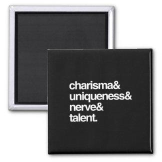 Nervio y talento de la unicidad del carisma imán cuadrado