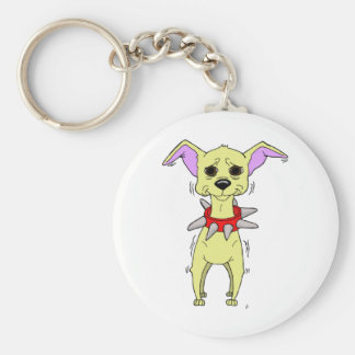 Nervous Chihuahua Cartoon Basic Round Button Keychain
