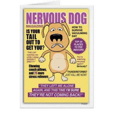 Beach Themed Nervous Dog Magazine funny birthday card