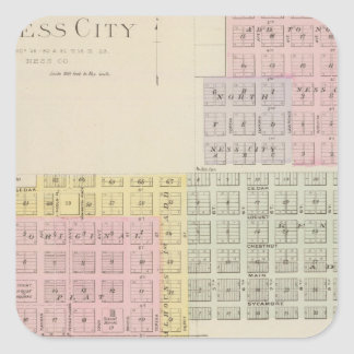 Ness City, Grainfield, Kansas Square Sticker