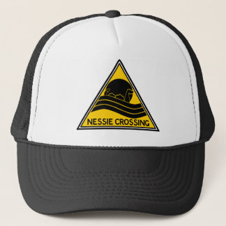 Nessie Crossing Caution Sign Trucker Hat