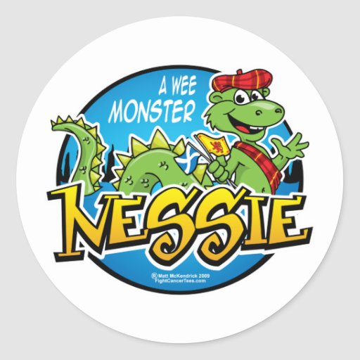 Nessie: Un monstruo pequenito Pegatina Redonda