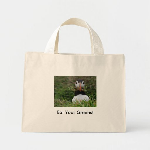 Nest Builder Puffin, Eat Your Greens! Mini Tote Bag