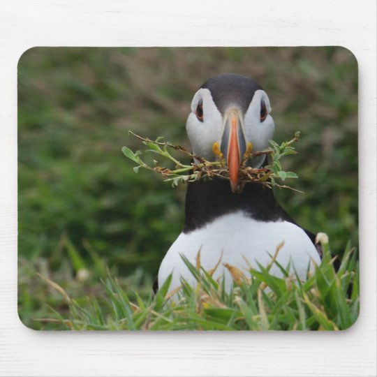 Nest Builder Puffin Mouse Pad