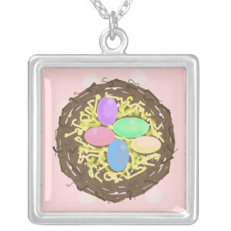 Nest of Coloured Eggs Silver Plated Necklace