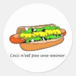 N'est Pas Une Weiner Classic Round Sticker