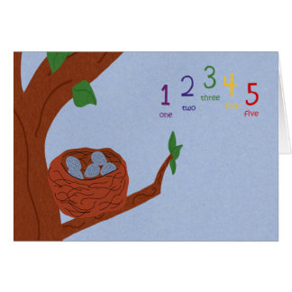 Nest Robin Eggs and Multicolored Numbers Card