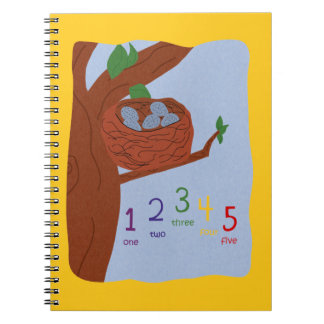 Nest Robin Eggs and Multicolored Numbers Spiral Notebook
