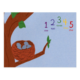 Nest Robin Eggs and Multicolored Numbers Postcard