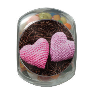 Nest With Hearts Glass Candy Jar