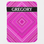 [ Thumbnail: Nested Pink Squares Pattern + Custom Name Baby Blanket ]