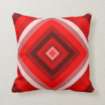[ Thumbnail: Nested Squares Pattern (Reds and Pinks) Throw Pillow ]