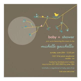 Nesting Bird Branch Moon Family Baby Shower Invite
