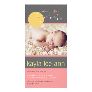 Nesting Bird & Family Baby Girl Birth Announcement