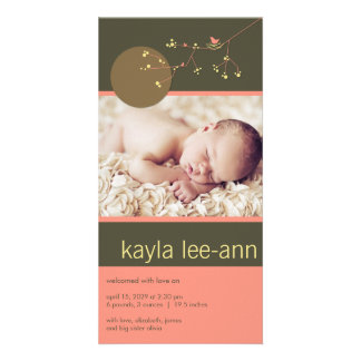 Nesting Bird & Family Baby Girl Photo Announcement Photo Card