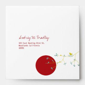 Nesting Bird Family Baby Shower Custom Envelope