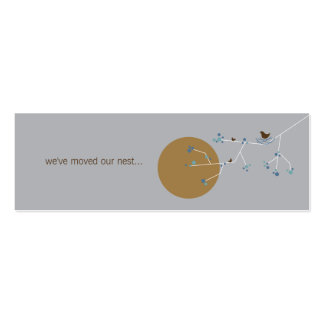 Nesting Bird + Family Blue Brown Custom New Home T Double-Sided Mini Business Cards (Pack Of 20)