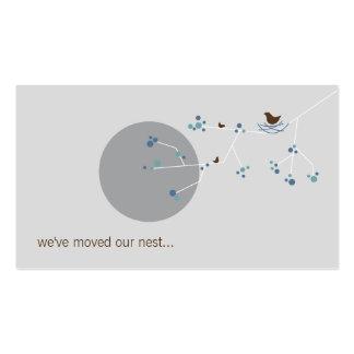 Nesting Bird + Family Blue Custom New Home Address Double-Sided Standard Business Cards (Pack Of 100)