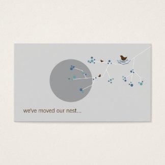 Nesting Bird + Family Blue Custom New Home Address Business Card