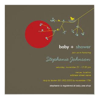 Nesting Bird Family Tree Boy Baby Shower Invite
