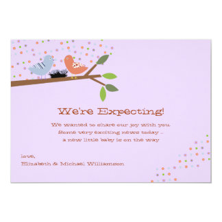 "Nesting Birds - Expecting Baby Announcement 5"" X 7"" Invitation Card"
