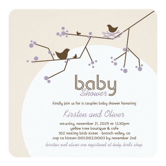 Nesting Birds Family Tree Couples Baby Shower Card